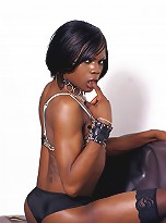 Transsexual ebony hottie Posh posing her fat dick