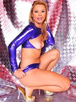 Filthy transsexual Duda Little posing in latex