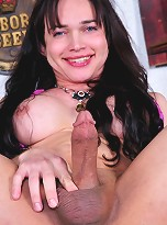 Sweet tranny Marcinha showing her enormous cock