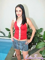 passable teen tranny Amanda Vaz getting rid of a jeans mini skirt by the pool