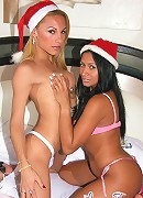 xmass tgirl Mylena Bismark fucking a santa claus with black pussy