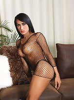 Exotical tgirl posing her long cock in sexy fishnet