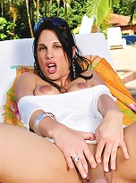 Gorgeous Abdul at the poolside playing with her massive cock