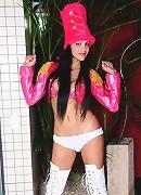 Brunette TS Vivian Aguilera posing her super long hard cock