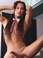 TS babe posing her ass in sexy miniskirt