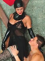 Trannie in Latex Dominating & Fucking A Guy