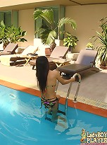 Hottest ladyboy ever playing in the pool