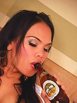 Ladyboy toys tight ass with beer bottle
