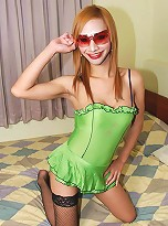 Lovely ladyboy in lime green teddy