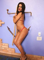Brunette shemale plays with some rough rope