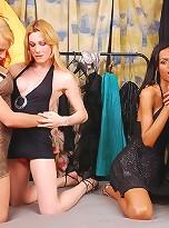Horny t-girls cum on chicks big boobs