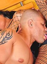Hung brazilian tgirl barebacks a guy\'s ass